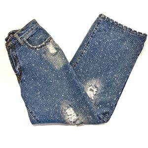 Wide Leg High-Waisted Distressed Splatter Jeans S